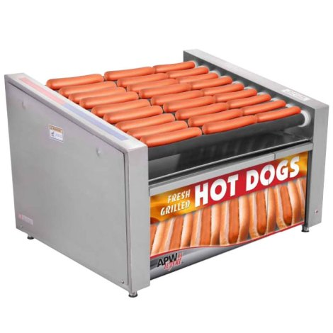 apw-wyott-hr-31sbd-24-hot-dog-roller-grill-with-slanted-chrome-plated-rollers-and-bun-drawer-120v