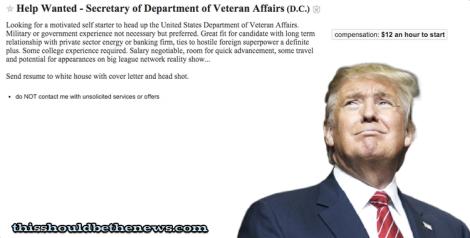 "Trump Posts ""Entry Level"" Secretary of Veteran Affairs Job"